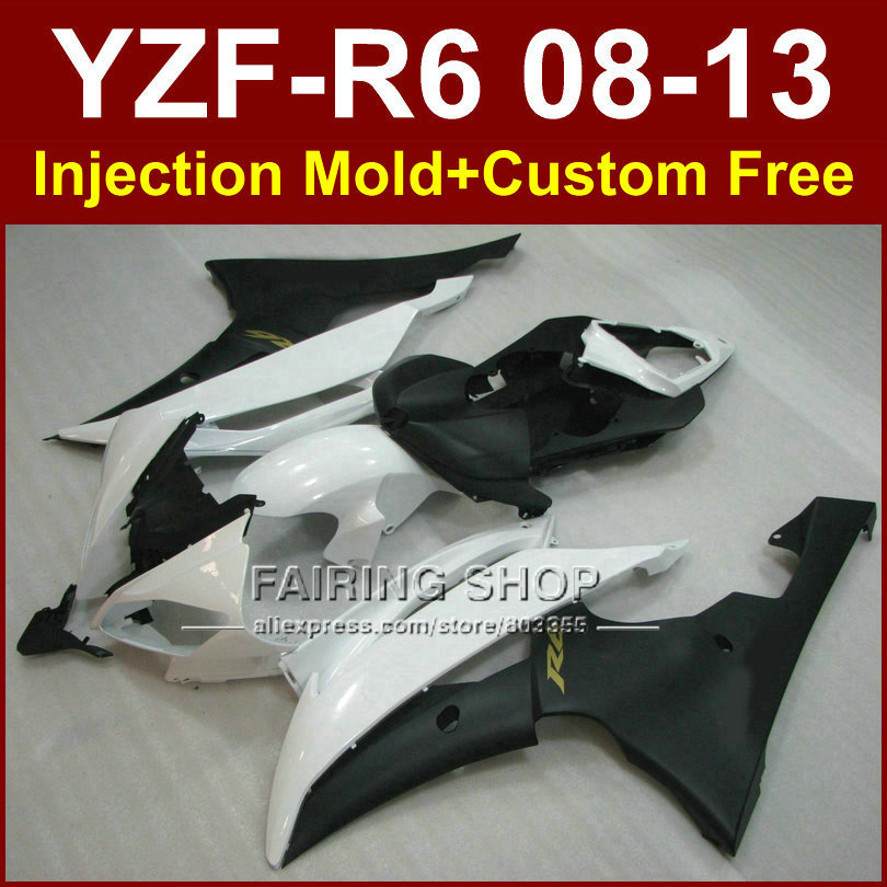 White black Motorcycle Injection molding fairing kits for YAMAHA YZFR6 2008 2009 2011 2013 ABS fairings kit YZF R6 08-13 YZF1000 hot sales yzf600 r6 08 14 set for yamaha r6 fairing kit 2008 2014 red and white bodywork fairings injection molding