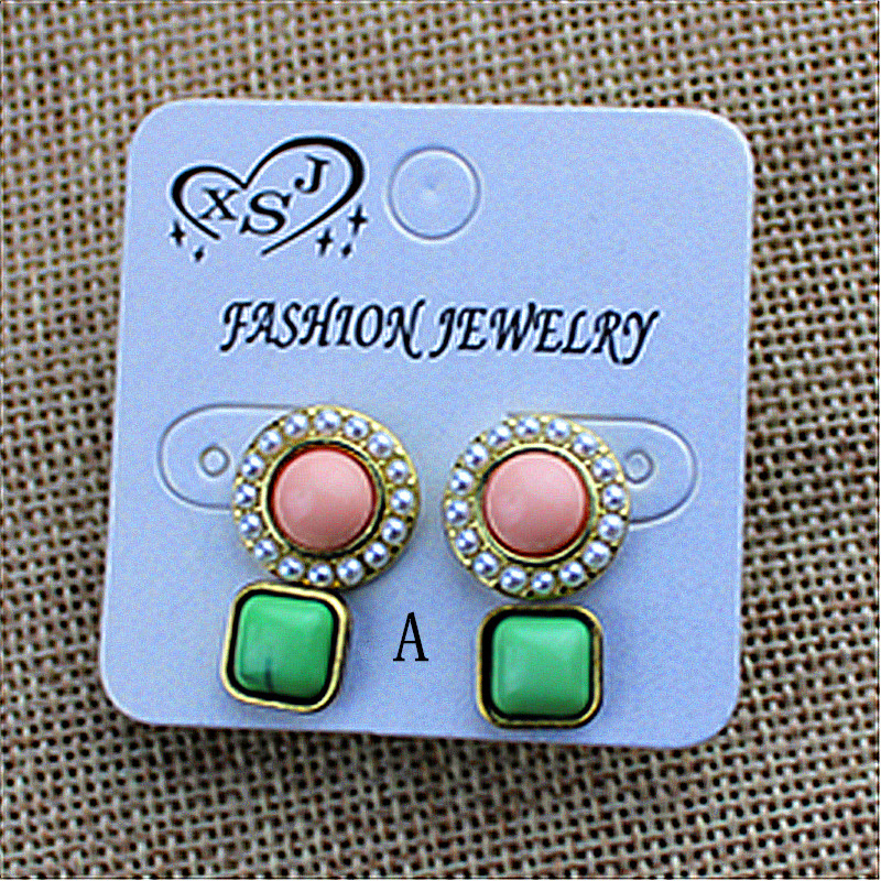 New popular women adorn article two double a beautiful birthday party card round studs earrings with