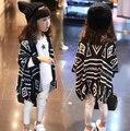 2-7Y, 2017 primavera niño moda espesar niñas cardigan de punto chaleco de los niños capa del cabo borlas geométrica niños cappa