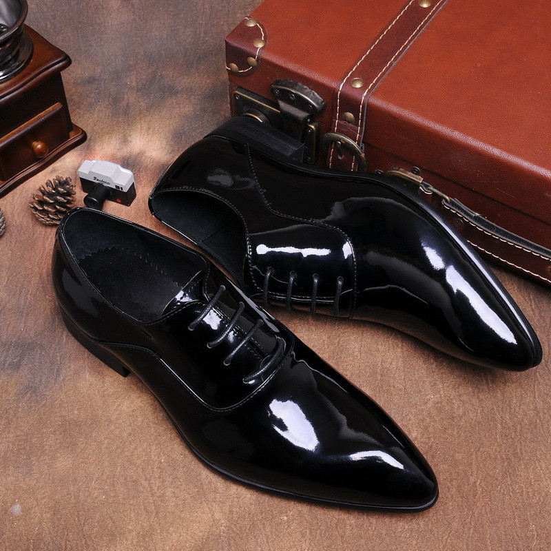 Black Patent Leather Mens Dress Fashion Oxfords Shoes 2018 Spring Autumn Men Wedding Barque Fashion Dress Shoes Lace Up Oxfords vixleo men shoes new spring and autumn casual fashion safety oxfords breathable flat footwear pu leather waterproof shoes men