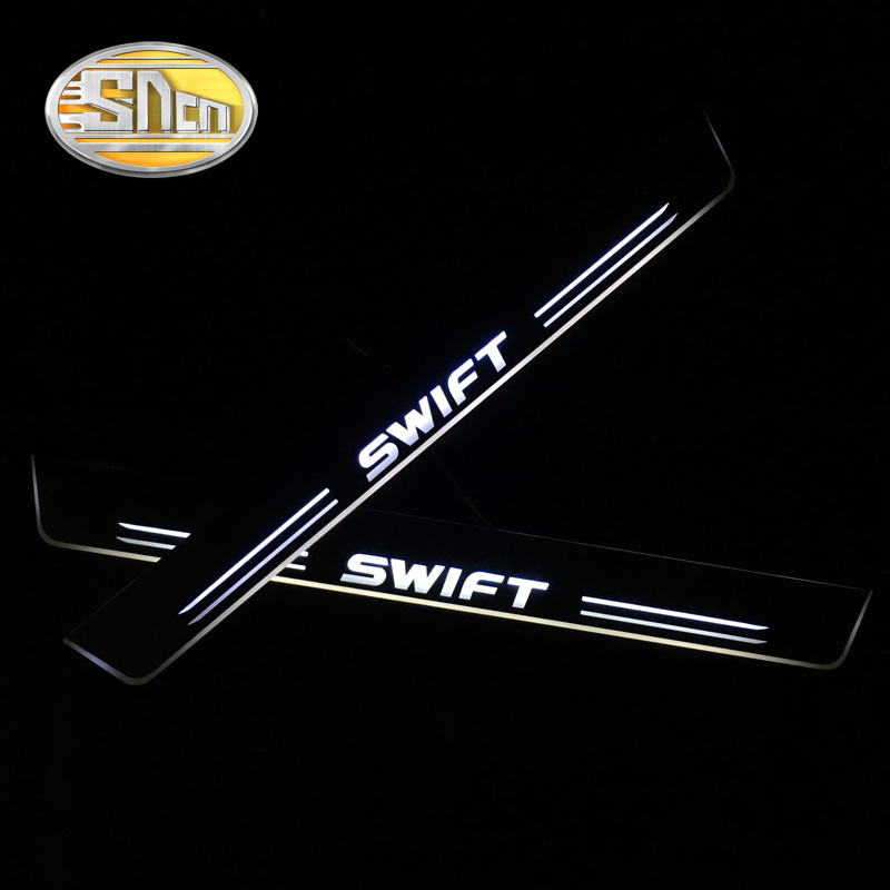 SNCN 4PCS Car LED Door Sill For Suzuki Swift 2015 2016 2017 2018 Ultra-thin Acrylic Flowing LED Welcome Light Scuff Plate Pedal sncn waterproof acrylic moving led welcome pedal car scuff plate pedal door sill pathway light for ford ranger 2014 2015 2016