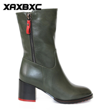 XAXBXC Retro British Style Leather Brogues Oxfords Green Short Boot Women Shoes Thick Heel Pointed Toe Handmade Casual Lady Shoe