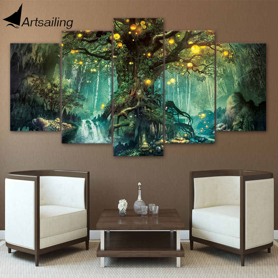 ArtSailing HD Printed 5 Piece Canvas Art Enchanted Tree Scenery Painting Wall Pictures for Living Room Home Decor NY-7632B
