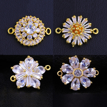 Juya DIY Women's Jewelry Findings Cubic Zirconia Flower Connectors Accessories For Needlework Jewelry Bracelets Earrings Making