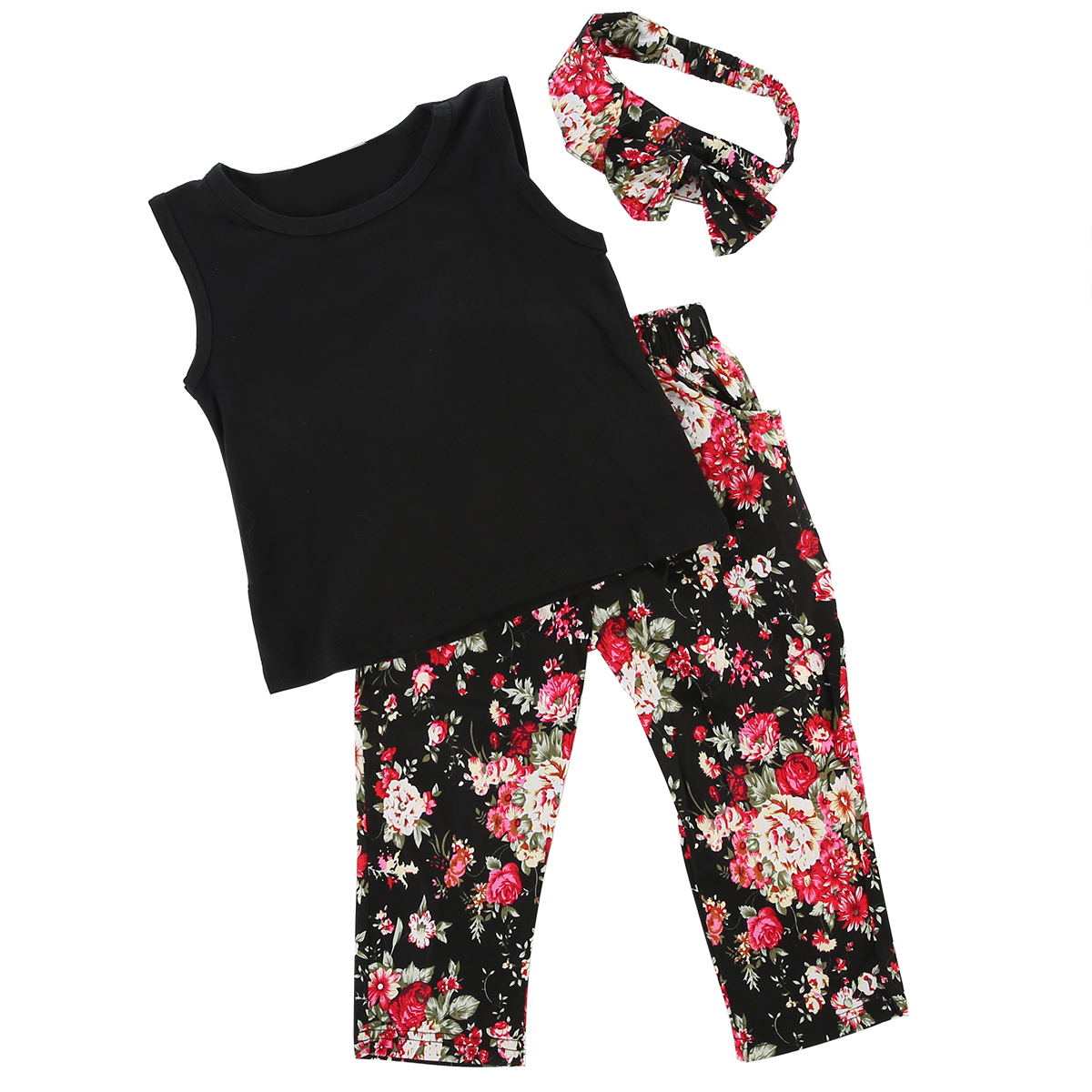 Summer New Fashion Kids Girls Baby 3PCS Set Floral Sleeve T-shirt Pants Headband Cute Stylish Kid Girl Outfits Clothes Age 2-8T girl