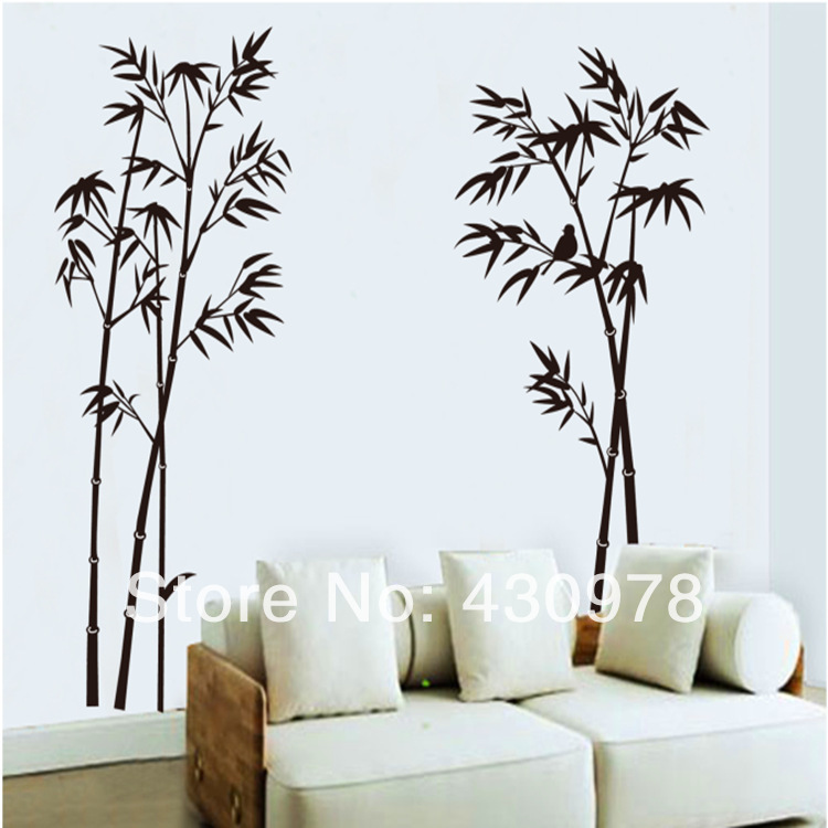 QZ1014 Free Shipping 1 Pcs <font><b>Elegant</b></font> Peaceful Chinese Black Bamboo Bird Calm Down Removable Wall Stickers Fancy <font><b>Home</b></font> <font><b>Decoration</b></font>