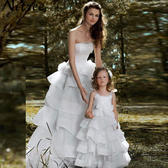 Mother daughter chiffon wedding dress strapless western for Western wedding mother of the bride dresses