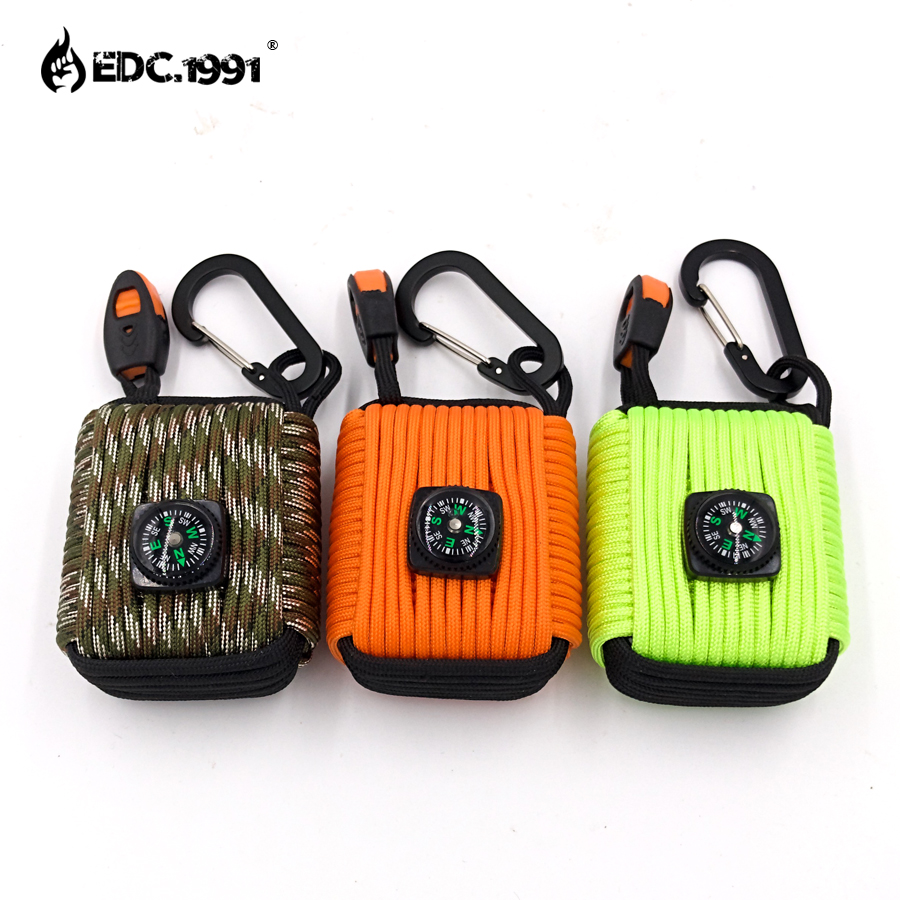 EDC.1991 Paracord Outdoor Camping Survival Grenade Paracord Keychain 20 in 1 Compass, Emergency Whistle, Carabiner, Fishing Kits(China)