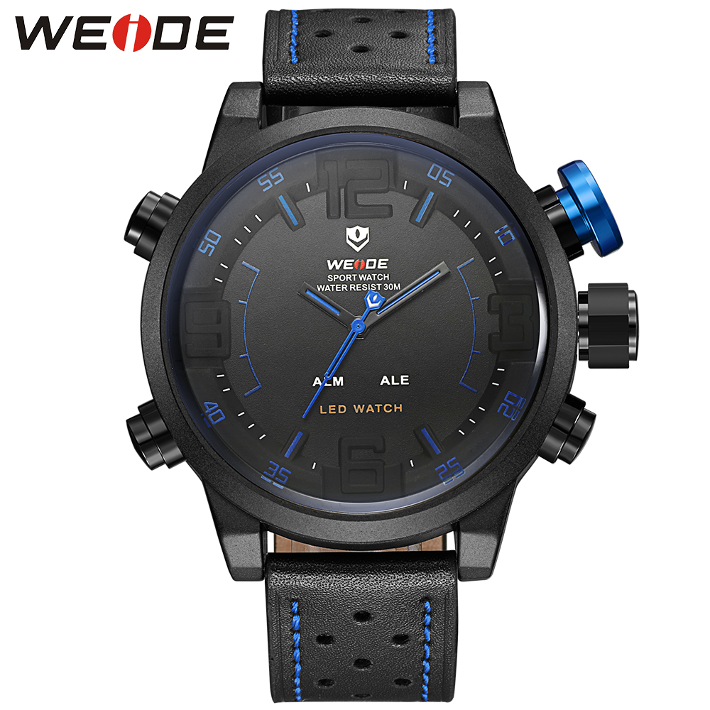 Original Weide Military Digital-Watch Quartz Men Watches 2 Time Zones Genuine Leather Sports Watches For Men Relogios Masculino weide men sports watches waterproof military quartz digital watch alarm stopwatch dual time zones wristwatch relogios masculinos
