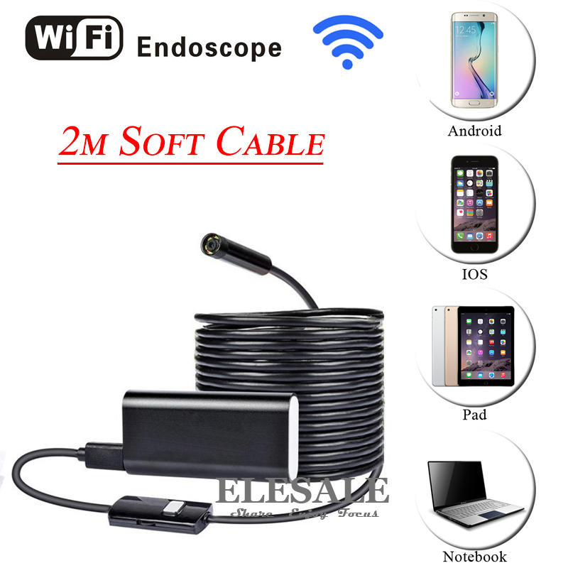 HD 720P 8mm 2M Wireless Wifi Android iOS Endoscope Camera Waterproof Soft Cable Inspection Borescope Camera For Car Repair eyoyo nts200 endoscope inspection camera with 3 5 inch lcd monitor 8 2mm diameter 2 meters tube borescope zoom rotate flip