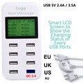 Fast Qualcomm QC 3.0 Быстрая Зарядка Smart USB Зарядное Устройство с ЖК-дисплей с 8 Порта Питания USB для Мобильного Телефона и Таблетки