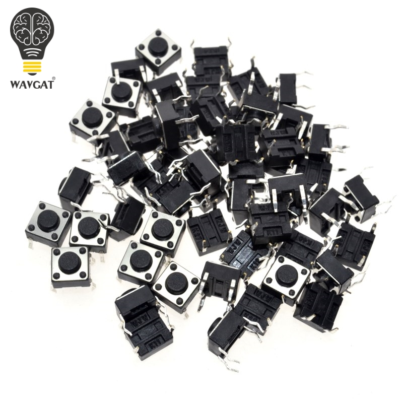 2017 50pcs/lot 6x6x4.3mm 4pin G89 Tactile Tact Push Button Micro Switch Direct Plug-in Self-reset Dip Top Copper Free Shipping