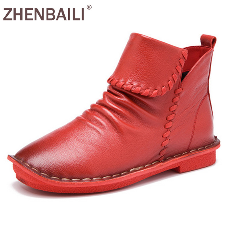 ZHENBAILI Size 35-40 Women Boots 2017 Autumn Fashion Genuine Leather Sewing Casual Shoes Soft Pleated Zipper Flat Ankle Boots large size 34 40 2016 fall women ankle boots cowhide soft leather flower genuine leather women short boots flat with shoes lady