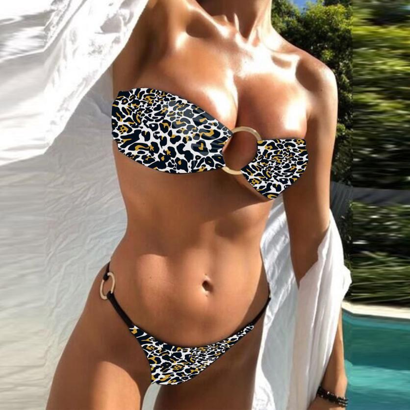 Popular Women Beachwear Leopard Ring Bikini Set Push-Up Padded Swimwear Bathing Swimsuit Fancinating Women's Swimsuits Biquini