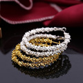 Free shipping Star style plated stainless steel circle round the caterpillar ear ring earring beads jewelry