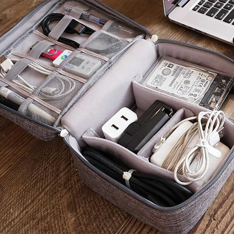 Bolsas organizadoras de embalaje de viaje Kit de Cable de datos Banco de energía U accesorios electrónicos dispositivos de Gadget Digital contenedores divisores