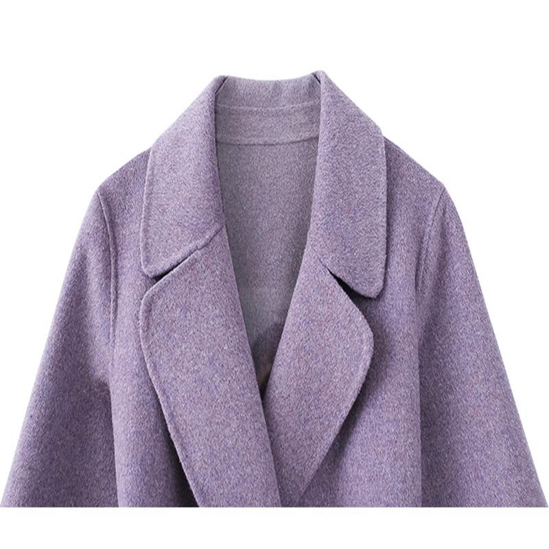 100 Automne Manteau Pardessus pourpre Lâche Femelle Pour Manteaux Bleu Occasionnel Col 2018 Coréenne Femmes D'hiver Laine Grand Dames S4qwSHR
