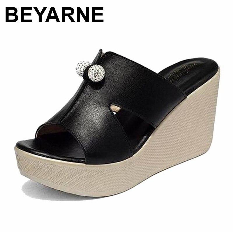 Beyarne 2019 novo verão genuíno couro plataforma cunhas sandálias moda feminina salto alto sapatos de verão tamanho 35-43e277