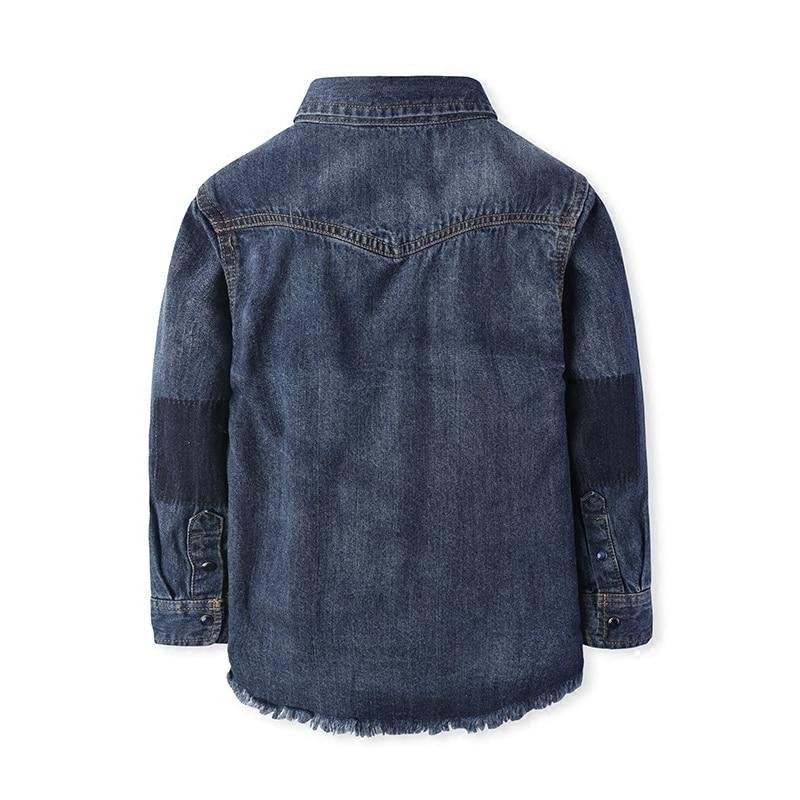 Bambini di Stile di spessore Camicette Stile Europeo e Americano Solido Denim di Cotone del Ragazzo Camicette Abbigliamento