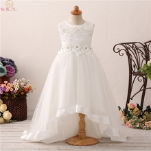 Short Front Long Back Formal Beauty Pageant For Flower Girls Dresses 2019 Party Communion Ball Gown Wedding Crystal Decoration new sweet flower girl dresses for wedding short front long back satin with tulle appliques straps party bll gown