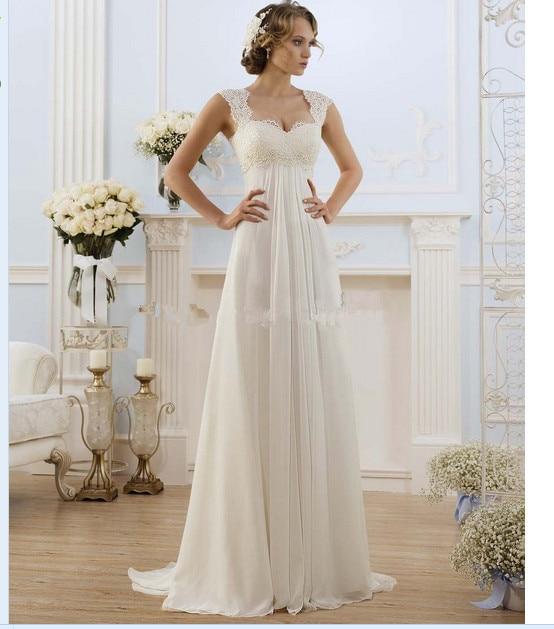 2016 Одеяние де свадебная из США размер 2-24 белый/кот кружево аппликация шифон-линии свадебное платье свадебное платье Vestido де Noiva