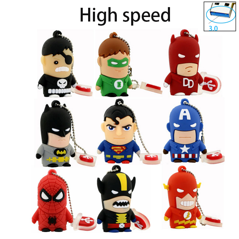 Usb 3.0!Superhero Superman/Batman/Captain America/Spiderman pendrive 4GB 8GB 16GB Usb flash drive 32GB 64GB cartoon pen drive