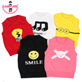 2017 New Spring Baby Girls Cotton Knitted Vest Sweater Boy Cartoon Smiling Face Minions 5Style Childrens Sweater Sleeveless Vest