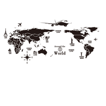 World Map Wall Stickers DIY Europe Style Buildings Mural Decals for Living Room School Dormitory Office Decoration