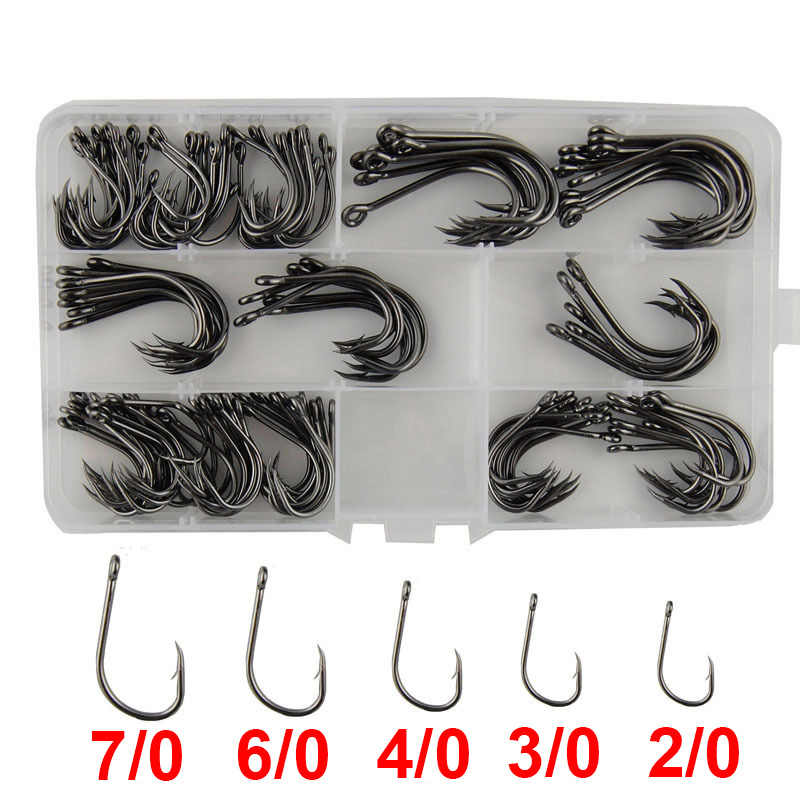 130pcs 9260 High Carbon Steel Fishing Hooks Saltwater Fishing Faultless O'shaughnessy Bait Fishhooks Set With Box