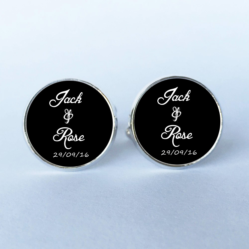 can customize any word 1 Pairs Men Cufflinks High Quality Married Cufflinks Custom Name And Date Personalized Cufflinks Wedding