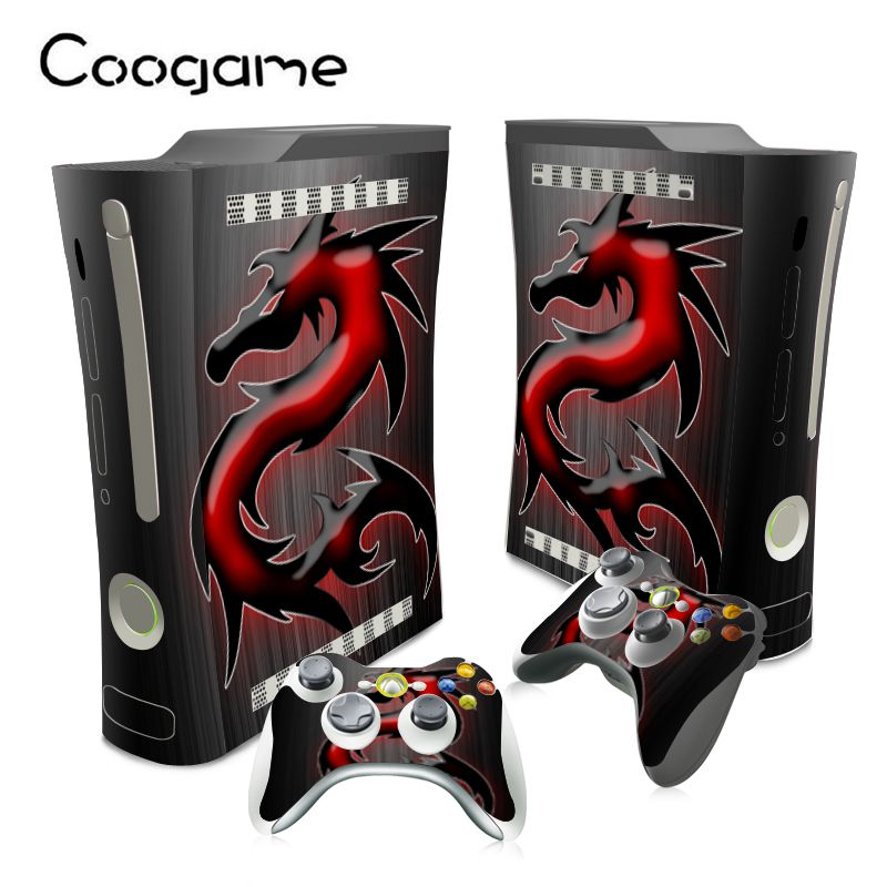 Red Dragon Stickers For Microsoft Xbox 360 Fat Conslole Skins For Xbox 360Fat PVC Decal