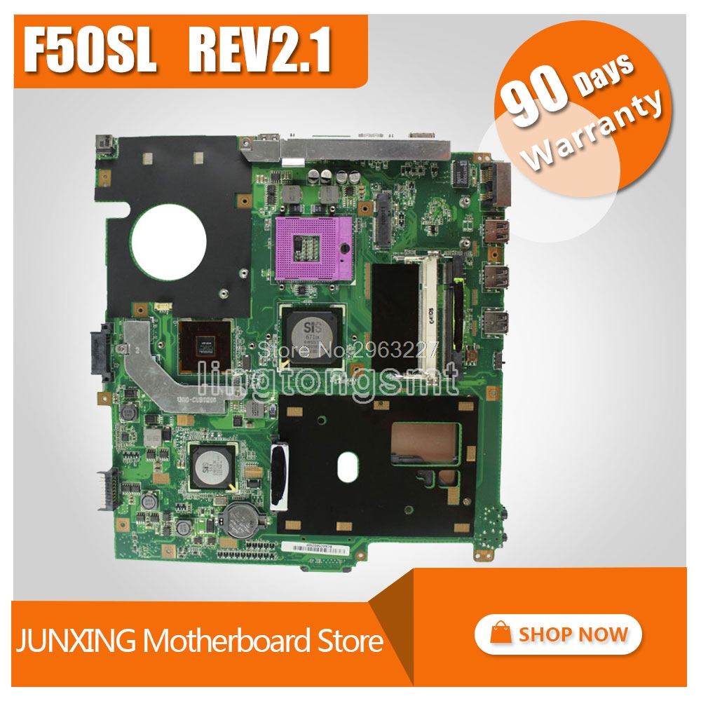 Original For Asus laptop X61S F50SL REV:2.1 Motherboard Mainboard 100% tested samxinno original for asus x55a laptop motherboard rev 2 1 2 2 100% tested perfect integrated mainboard