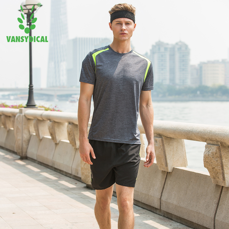Mens 2 Pcs Running Suits Vansydical Football Training Jersey Sets Quick Dry Shirts and Shorts Sports Suits