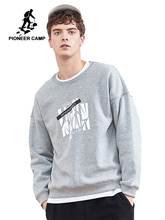 Pioneer camp new winter fleece sweatshirt hoodies men brand clothing casual print sweatshirt quality cotton tracksuit AWY806084