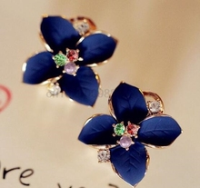 1000Pair new elegant noble blue flower ladies gold color rhinestone earrings piercing Brinco women fast shipping