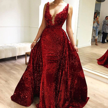 EVERFEAG Customized Deep V Neck Mermaid Evening Dress 2019