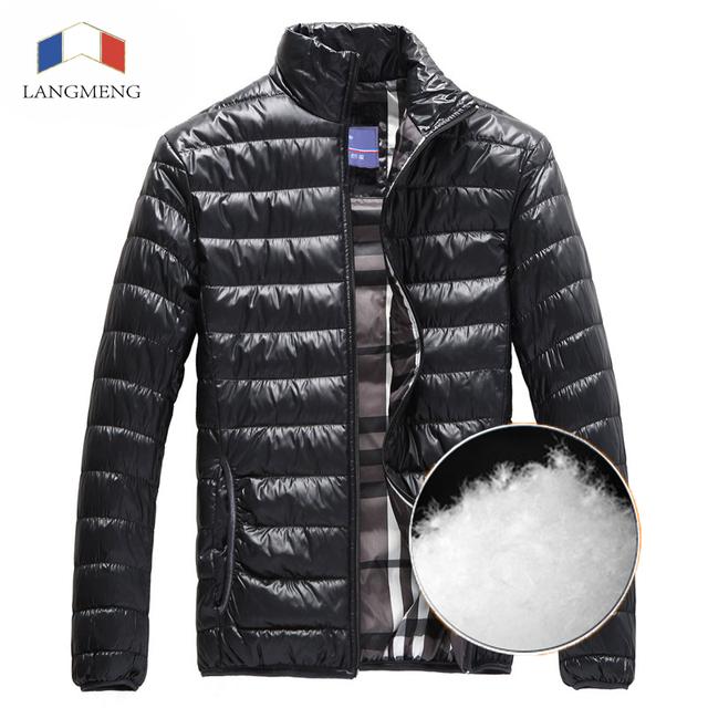 Langmeng 2016 nuevos hombres súper caliente de pato blanco abajo de los hombres ropa de invierno chaquetas abrigos de los hombres collar del soporte ocasional ultraligero chaquetas