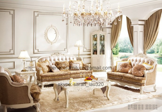 Hot Sale French Style Sofa Set, Leather and Fabric Upholstered Living Room Set Promotion Sofa