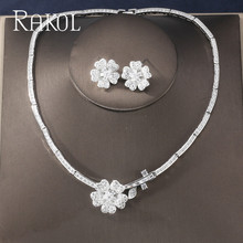 цена RAKOL Luxury Cubic Zircon Micro Paved Flower Wedding Bridal Jewelry Sets For Women Dinner Dress Earrings Necklace Set KS4599