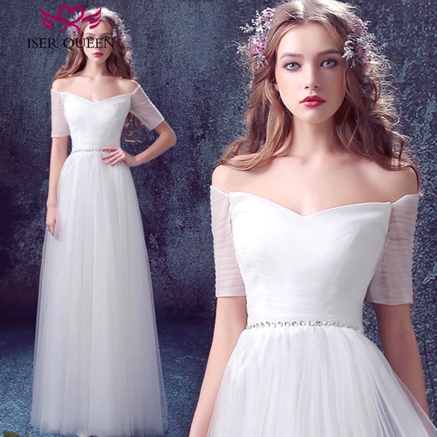 Europe Simple Pleat Beach Wedding Dress 2019 Half Sleeve Off the shoulder Crystal Sashes Bohemian Tulle