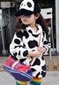 Autumn/Winter Children's hoddies Hooded cow design kids Sweater/outwear girls thicken coral fleece warm pullover Free shipping
