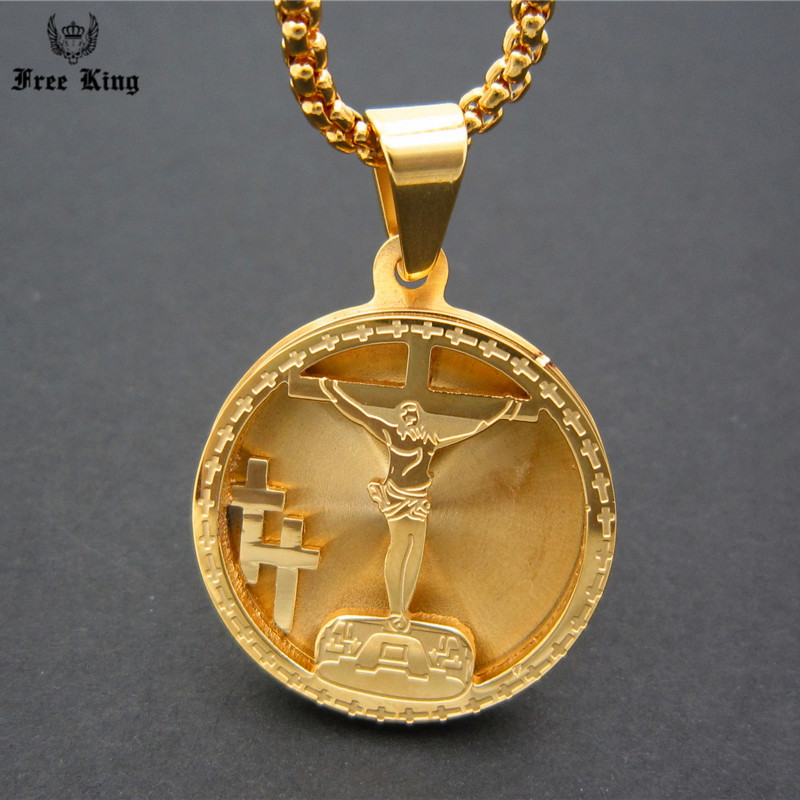 Top Mens Stainless Steel Gold Crucifixion Jesus Cross Medallion  HX74