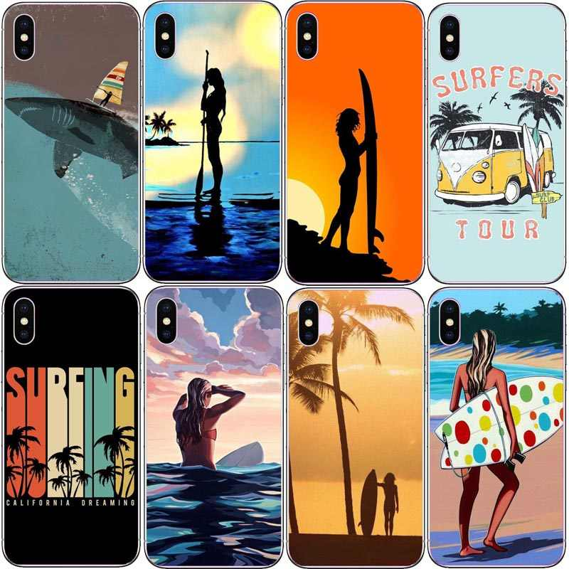 surfboard surfing art surf Girl Ultra Thin Cartoon Pattern Back Phone Case for iPhone 8 8plus 7 7plus 6 6S Plus XS XR SE Cover