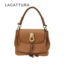 LACATTURA 2017 New Arrival Brand Design Women Genuine Leather Handbag Vintage Cloe Casual Tote Real Cowskin Tassel Shoulder Bag