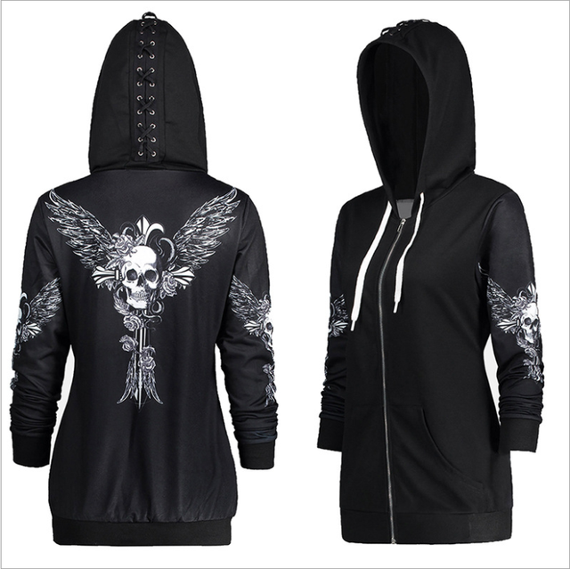 53a81b3a5 New Autumn Women Skull Wings Print Halloween Zip Up Hoodie Punk Long Sleeve  Spring Thin Sweatshirts Coat Cool Hoodies