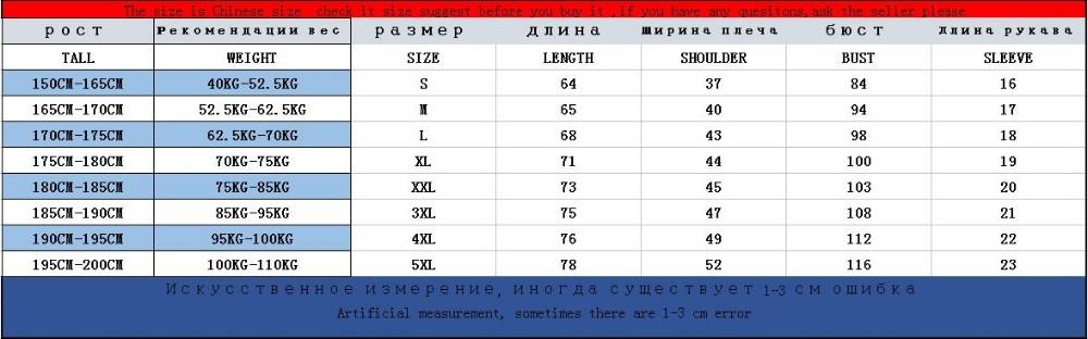 short sleeve size table