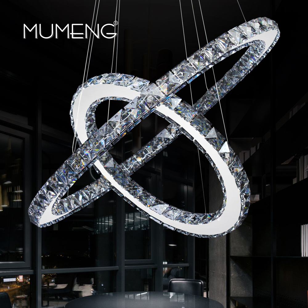 mumeng LED Crystal Chandelier 2 Ring Diamond Kitchen Light Fixture K9 Crystal Dining room Living room Hanging Lamp DIY Style