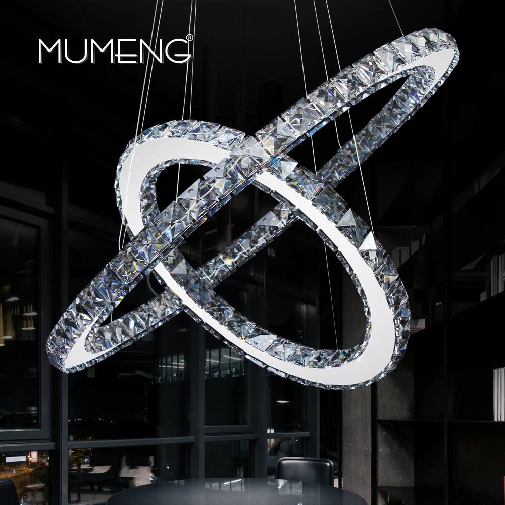 mumeng LED Crystal Chandelier 2 Ring <font><b>Diamond</b></font> Kitchen Light Fixture K9 Crystal Dining room Living room Hanging Lamp DIY Style