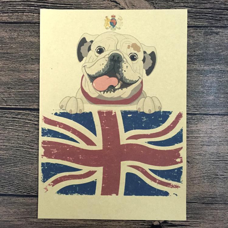 Vintage English Bulldog painting Retro Poster Bar/cafe/Pub Wall Art Crafts Sticker Living room home Decoration 42x30cm JIP-B123