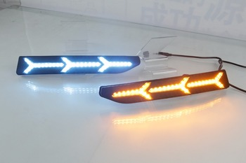 Qirun led drl daytime running light for Volkswagen New Santana with moving yellow turn signals and blue night running light